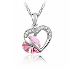 Pink Tourmaline heart cut and diamond simulated necklace  18 inch chain pendant