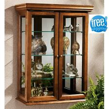 Wall Mount Curio Cabinet Display Glass Shelf Wood Case Mirrored Decor Furniture