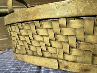 ANTIQUE PRIMITIVE  HERRINGBONE BENT WOOD SHAKER BREAD HARVEST BASKET FINLEY MADE