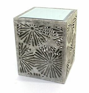 """18"""" x 18"""" x 23"""" Gray, Rustic, Floral, Wooden, Mirror - End Table/Tea Table"""