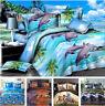 4Pcs Animal dolphin Duvet Cover Set 3D Print Bedding Pillow Case Sheet Double GQ