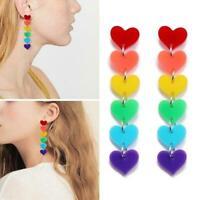 1 Paar Ohrringe Frauen Mode lange Acryl Liebe Herz Geschenk Quaste Ohrringe J1P0