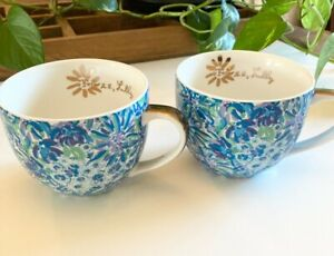 Lilly Pulitzer ceramic mugs set of 2 blue and purple color name High Manetenance