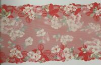 Red Flat Galloon Lace Floral Trimming Width 8.5 inch 21.5cm 215mm