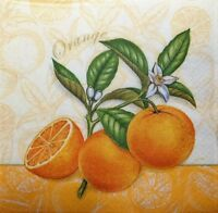 4 x Single Paper Napkins Orange for Decoupage Crafting Table 23
