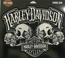 "Harley Davidson Skull Text B&S 9"" x 6 1/2"" Motorcycle Vest Sew on Patch EM169884"