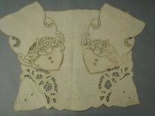 Antique Natural linen hand embroidered Arm Rest Covers Cut work 3pc set