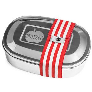 Brotzeit to go MAGIC Brotdose Pure & Green Edelstahl Unterteilung BPA frei Rot