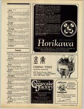 Horikawa - Ching Ting - Cheesecake Factory - Senor Pico 1979 Print Ad