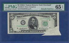 1950A $5   ERROR  ♚♚BUTTERFLY FOLD ERROR♚♚  PMG GEM UNC 65 EPQ