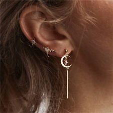 3pcs New Moon Star Long Tassel Rhinestone Ear Studs Hoop Earring Set Jewelry Z