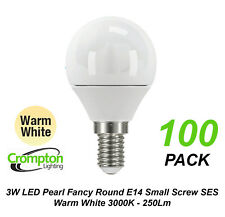 5 X 3w LED Warm White Light Globes Bulbs Lamps Small Screw E14 Round Ses Pearl