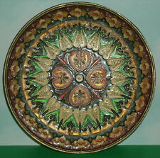 "Decorative Brass & Enamel Mosaic Hanging Wall Plate (6.5"" Round) Decoration"
