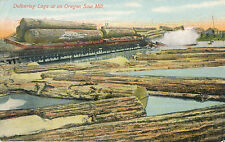 c1914 Delivering Logs at Oregon Saw Mill, Train to Pool, Tinted Postcard, Unused