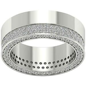 Men's Eternity Ring SI1 G 2.25 Ct Round Diamond 14K Solid Gold Appraisal 7.40MM