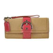 NEW Coach Limited Edition Vachetta Leather Large Clutch 6694 Natural Pink