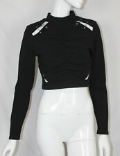 BNWT  River Island Black Cropped Long Sleeve Cut Out Metal Detail Party Top 10