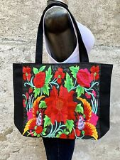 Mexican Black Colorful Floral Embroidered Shoulder Tote Purse Bag