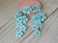 EARRINGS FLORAL CHERRY BLOSSOM BLUE ANTHROPOLOGIE FRONT BACK 2 WAY DANGLE NEW$58