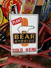 Bear Hybrids Farm Sign Equipment Seed Feed Barn Tractor gas oil Dealer