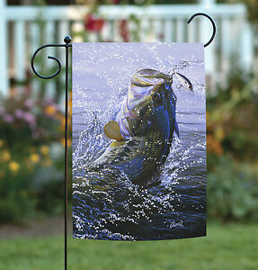 Toland On the Hook 12.5 x 18 Jumping Fish Lake Pond Fishing Garden Flag