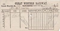 GREAT WESTERN RAILWAY. Manchester to Audlem Parcels April 1877 Way-Bill Rf 45032