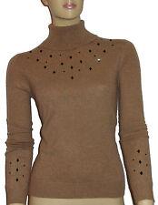LUXE OH `DOR® 100% Cashmere Kaschmir Rollkragen Pullover brown black Gr 34/36