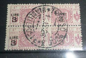 """FRANCOBOLLI ITALIA REGNO 1923 """"PACCHI POSTALI"""" 3£ SU 10£ TIMBRATO USED (CAT.X)"""