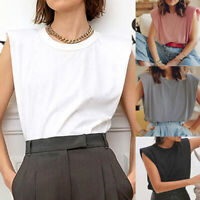 Women Summer Sleeveless T Shirt Ladies Basic Shoulder Pad Tee Fashion Blouse Top