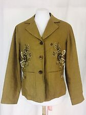 Linen Jacket Women's Medium Brown Beaded Embroidered