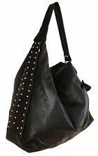Elicia Charvet - Stylish Black Genuine Cowhide Leather Hobo with Ties