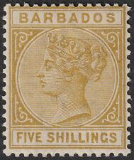 Barbados 1886 QV 5sh Bistre Mint SG103 cat £170