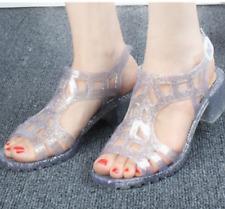 Women Clear Jelly Sandals Open Toe Mid Heels Summer Buckle Soft Sole Beach Shoes