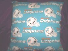 "16""x16"" Handmade Pillow Made w/Miami Dolphins Cotton Print w/Orange Cotton Back"