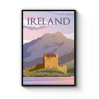 Retro Ireland Travel Vintage Irish Artwork Wall Art Poster Print Framed / Canvas