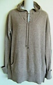 MAX STUDIO 100% 2-Ply Cashmere Hooded Kangaroo-Pocket Taupe/Brown Sweater L