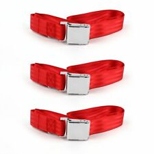Ford Mustang 1967 - 1970 Airplane 2pt Red Lap Bench Seat Belt Kit - 3 Belts(Fits: Whippet Model 93A)