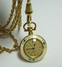 BUCHERER Enamel Flowers Small Pocket Watch Necklace