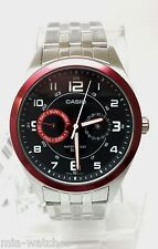Casio MTP1353D-1B2 Mens Silver Stainless Steel Dress Watch Red/Black Dial 50M