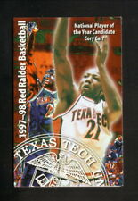 Cory Carr--Texas Tech Red Raiders--1997-98 Basketball Schedule--Double T Shoppe