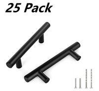 25 Pack 8 inch Black Kitchen Cabinet Drawer Door Handles T Pull bar Hardware
