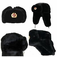NEW RUSSIAN TRAPPER HAT WITH SOVIET BADGE FAUX FUR USHANKA COSSACK FLAPS