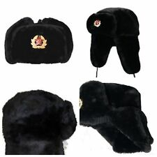 NEW RUSSIAN TRAPPER HAT WITH SOVIET BADGE FAUX FUR USHANKA COSSACK FLAPS BLACK