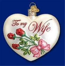 To My Wife Pink Heart W/ Roses Old World Christmas Glass Ornament Nwt 30049