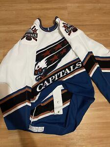 CCM Washington Capitals Screaming Eagle Blank White Authentic Jersey Rare 48