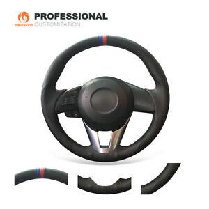 Black Genuine Leather Car Steering Wheel Cover for Mazda 3 Axela Atenza CX5 CX-3