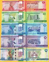 Gambia Set 5, 10, 20, 50, 100 Dalasis 2015 UNC Banknotes