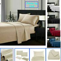 Queen King Deep Pocket Bed Sheets Set Fitted Flat 1800 Count Egyptian Comfort H3