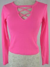 NWT Hollister A & F Hot Pink Crisscross Front Long Sleeve Top Size Small