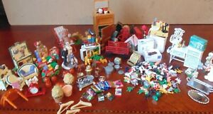Dollhouse Miniatures Lot Over 3 1/2 LBS Mixed Lot Furniture Accessories Food